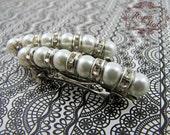 Glass Pearl & Rhinestone Barrettes, White, 1 pair, special occasion, wedding party, hair clip, hair accessories, bridal hair - reynared
