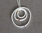 Silver pendant - brown violet pendant - Irregular circle necklace