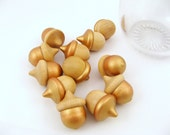 Wood Acorns with Gold Accents - Fall decor, Table decor, Bowl Filler - 12 pieces