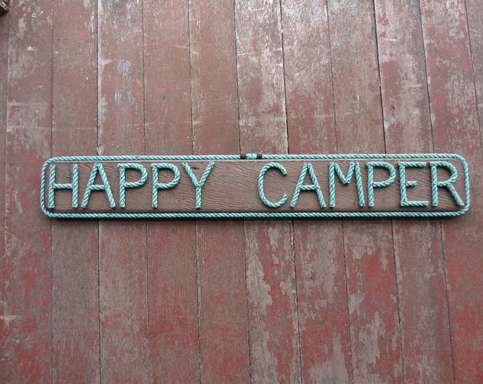 HAPPY CAMPER Wood Sign Nautical Reclaimed Recycled Rope Letters Beach Camping