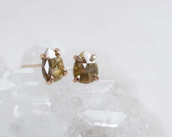 Yellow Rose Cut Diamond Earrings | Pear Cut Rustic Yellow Diamond Studs | 14k Recycled Gold | One of a Kind