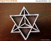 THANKSGIVING SALE Indian Hand Carved Wood Printing Block- Star Tetrahedron (Star of David), Sacred Geometry