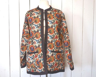Quilted Floral Jacket Early 90s Does 60s Black Red Vintage Light Weight Button Up Mandarin Collar Coat XL
