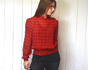 Sheer Crop Top Early 90s Does 50s Vintage Red Black Checker Print Twin Peaks Audrey Blouse Small Medium