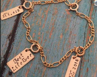 Design your own Best Life Ever Gold Filled Charm Bracelet. Add-on custom stamped charms. Scriptures, names, dates, initials, etc...