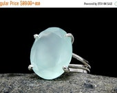 SUMMER SALE - aqua Chalcedony ring,silver cocktail ring,sterling silver ring,gemstone ring,faceted oval ring,prong setting ring