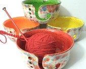 Fun-Fetti Wide Mouth Ceramic Yarn Bowl Choose your inside color - handmade in my Charleston, SC studio