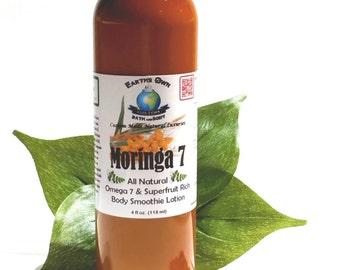 4 oz Moringa 7 All Natural Superfruit Rich Body Smoothie Lotion. Intense Hydration w/ Coconut Water & Moringa. Gluten Free, Vegan.
