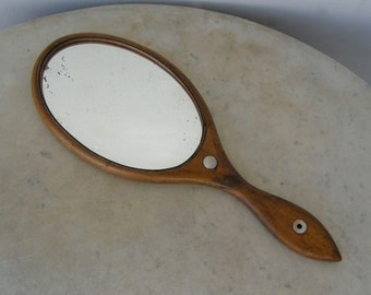 ANTIQUE WOODEN MIRROR Oval Shape Mother of Pearl Insets Inlaid Frame Early American Hand or Hanging Mirror Victorian Mid to Late 1800's