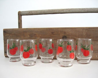 Vintage Juice Glasses Set Hand Painted Red Apple Tomato Fruit Federal Glass Small Handpainted Votive Holders