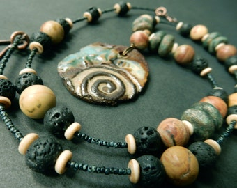 Necklace…with stoneware pottery beads and Pendant made by At Home In Taos… agate, bone, lava. *