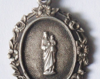 Our Lady of France Vintage Religious Medal Pendant on 18 inch sterling rolo chain