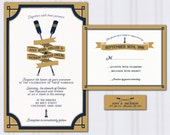 Nautical Wedding Invitations, Oars Invite Set, Navy Blue and Gold Wedding Invitation, Rowing Wedding, Discount Wedding, SAMPLE