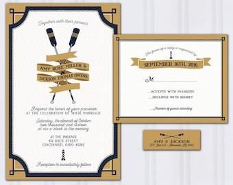 Nautical Wedding Invitations, Oars Invite Set, Navy Blue And Gold Wedding  Invitation, Rowing