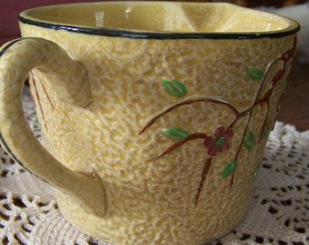 Antique Majolica Pitcher Made In Japan Yellow Vines Majolica Pitcher Yellow And Brown Floral Nature Theme
