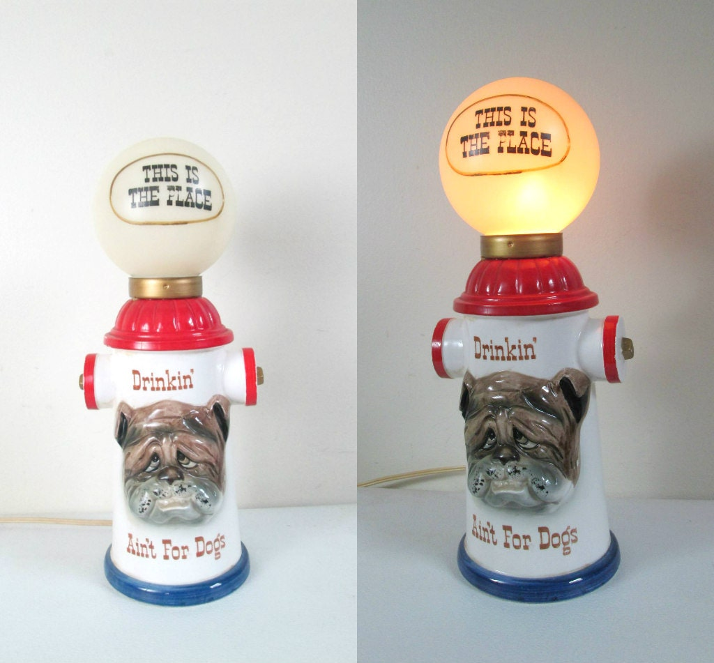 MCM Kitsch Bar Lamp Enesco Fire Hydrant Dog Table Top