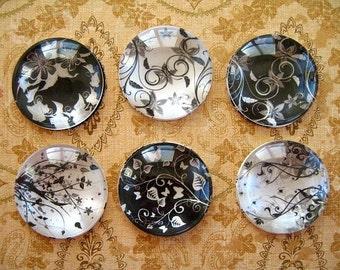 Black White Round Glass Magnet, Black White Flower Fridge Magnet, Flowers Round Magnet - 6 PCS