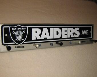 "Oakland Raiders coat rack ""hangup"" silver (convo me for your favorite team)"