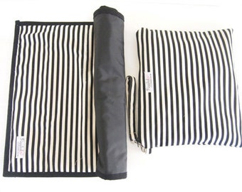 Set of Portable Baby Changing Pad / Change Mat with a Wet Bag Carry Case - Black and White Stripe