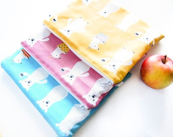 Small Wet Bag Pouch with Waterproof Lining - Polar Bear 2 (Pink, Blue or Yellow)