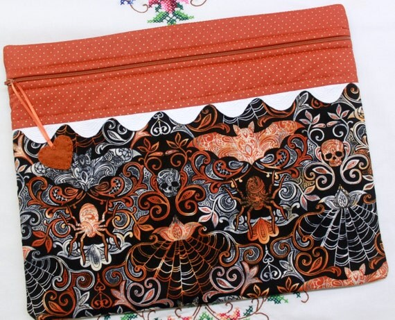 Spooky Damask Halloween Cross Stitch Embroidery Project Bag