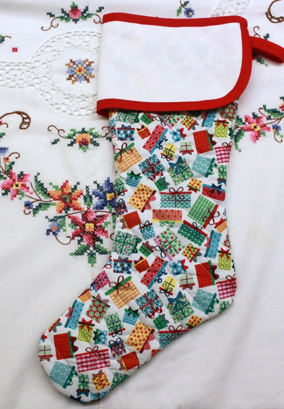 Christmas Presents  Stitchable Quilted Cross stitch Christmas Stocking