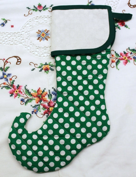 Green Polka Dot Elf Stitchable Quilted Cross stitch Christmas Stocking