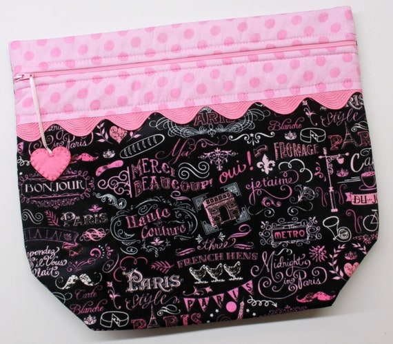 Big Bottom Paris Chalk Art Cross Stitch, Embroidery Project Bag