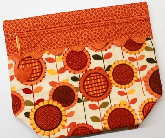 Big Bottom Modern Sunflowers Cross Stitch, Embroidery Project Bag