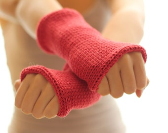 Knitted gloves mittens  Red Arm Warmers, Knitted Arm Warmers, Knits for Women