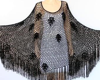 Black Shawl Crocheted Shawl Lacy Cape Shawl Fringed Shawl Knitted Shawl