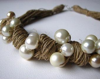 loop of pearls - linen necklace