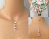 Crystal Bridal Earrings, Pearl Wedding Earrings, Dainty Backdrop Bridal Necklace, Vintage Style Bridal Jewelry SET, Lola Bridal Jewelry