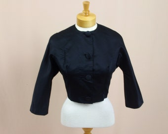 50s Cropped Jacket * Black Jacket * Black Blazer * 1950s Blazer * Satin Jacket * Pin Up * Rockabilly * Birnbaums