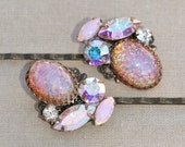 Vintage Pink Fire Opal Aurora Borealis Rhinestone Jeweled Bobby Pins,Bridal Bobby Pin Pair,Set of Two,Antique Brass Bridal Pin,OOAK,Blush