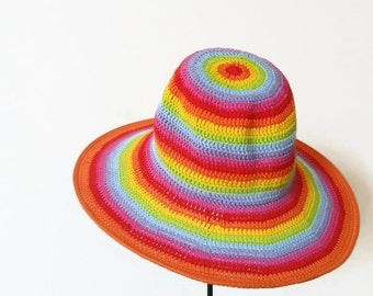 Rainbow Crochet Floppy Hat. Women Cloche Wide Brim. Summer Multicolored Romantic Hat. Sun Protection Cotton Hat by dodofit on Etsy
