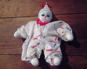 vintage  Pierrot Harlequin Clown Doll with porcelain head