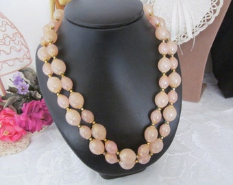 Vintage Pink Double Strand Beaded Necklace Acrylic Beads Gold Tone Spacers