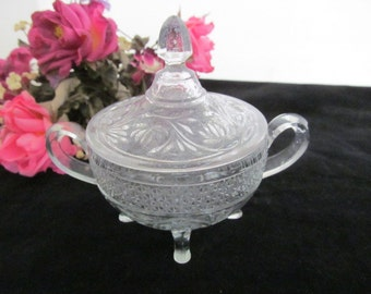 Vintage Sandwich Glass Footed Sugar Bowl with Lid
