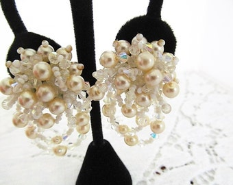 Lois Ann Designer Earrings Faceted Aurora Borealis Crystals and Faux Pearl, Clip Earrings, Dangle