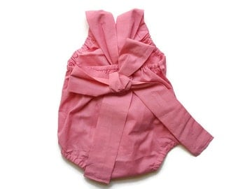Pink Baby Romper - Basic Toddler Sun Suit ( Custom ) Soft Light Rose Minimalist Bow Tie Bubble Snap Bottom Crotch Closure Outfit