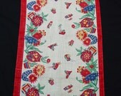 """Vintage 1940's Toweling Runner Mexican,Southwestern Theme,Bright Colors 16 3/4 x 36"""""""