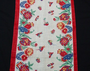 Vintage 1940's Toweling Runner Mexican,Southwestern Theme,Bright Colors 16 3/4 x 36""