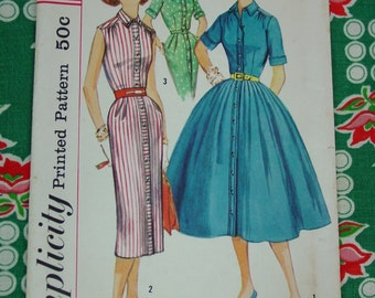 Vintage Pattern c.1957 Simplicity No.1946 Shirtwaist Dress, Size 11 Bust 31 1/2