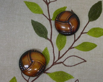 """Pair of Lg.Dramatic Vintage Celluloid Buttons, 1 1/2"""" x 1/2"""" Domed"""