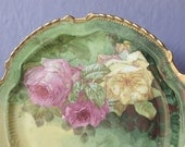 Antique 1920's LRL Limoges plate, hand painted plate, cake plate, yellow and pink roses plate, French porcelain plate, antique china plate