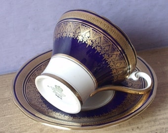 Vintage 1950's Blue teacup and saucer, Aynsley Blue and Gold tea cup, English tea cup, Antique Bone china teacup, 20th anniversary gift