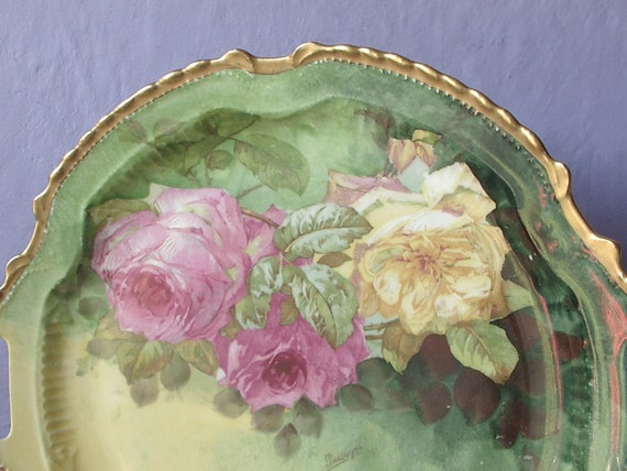 Antique 1920's LRL Limoges plate with handles, hand painted plate, yellow and pink roses plate, French porcelain plate, antique china plate