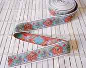 "Rose Print Jacquard Ribbon, 1"" wide, Woven, Thick trim, Vintage, Cross Stitch print"
