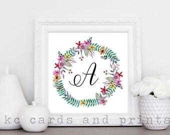 Letter A Monogram Print - Floral Printable Monogram Art Print - Nursery Monogram Wall Art